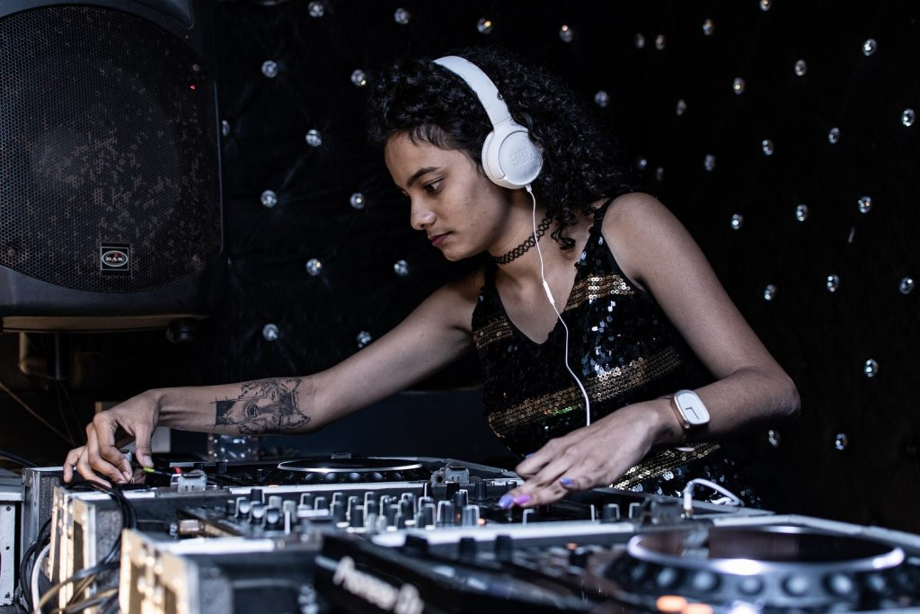 Woman with DJ table