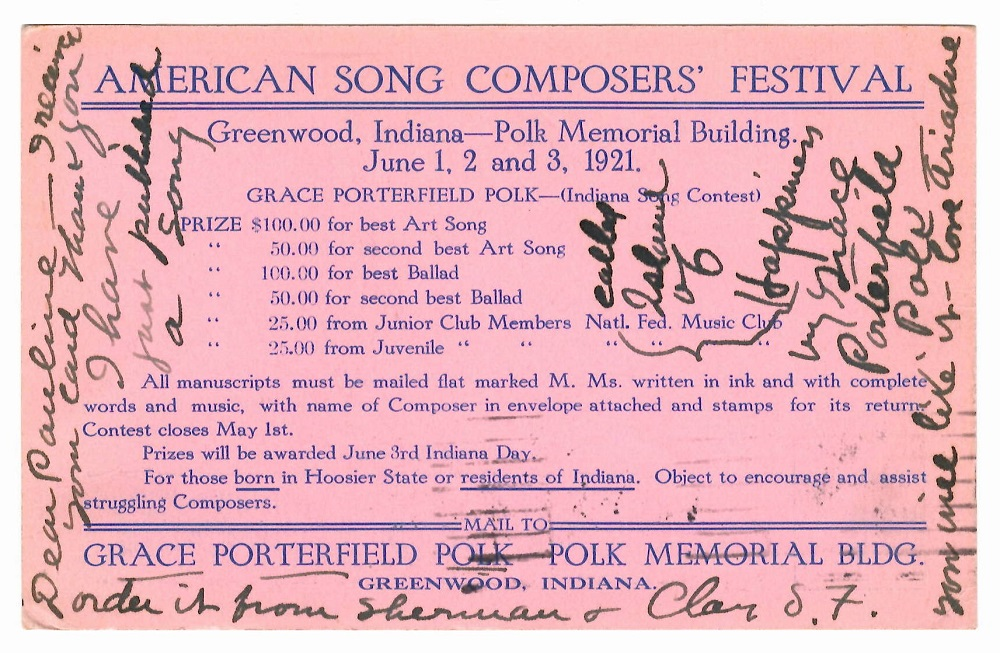 "Postcard with text about the American Song Composers' Festival and Grace Porterfield's new song, ""Island of Happiness"""
