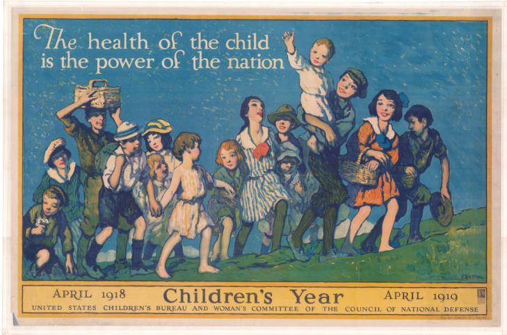 """A painting for the U.S. Children's Bureau and Woman's Committee of the Council of National Defense, April 1918-1919. Children all walk up a hill together underneath the slogan: """"The health of the child is the power of the nation."""""""