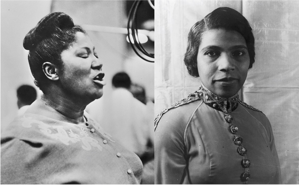 2 side-by-side black-and-white portrait photos of Mahalia Jackson, who is singing, and Marian Anderson, who looks at the camera.