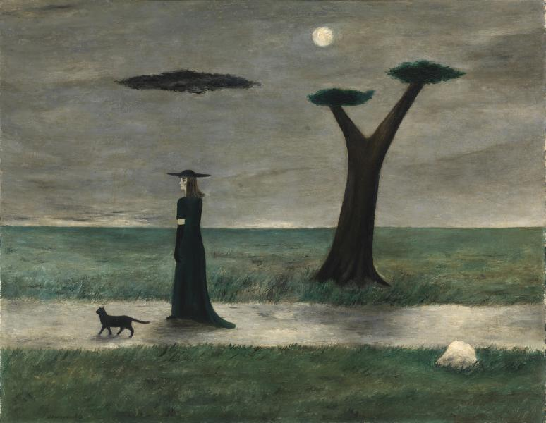 Oil painting using muted greens and greys as well as black depicting a women dressed in black walking past a tree on a path with a cat.