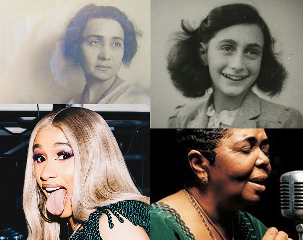Collage containing pictures of Ivanka Milojević, Anne Frank, Cardi B, and Cesaria Evora.