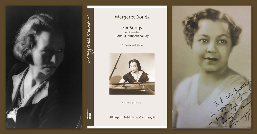 """3 photos side by side. From left to right: a photo of Edna St. Vincent Millay, the cover of Margaret Bonds's """"Six Songs,"""" and a photo of Margaret Bonds"""