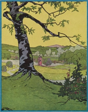 Illustrated picture of a tree with a meadow behind it. It contains many shades of green.