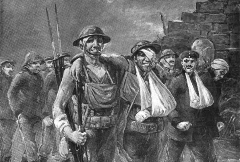 Black and white drawing of soldiers marching out of battle. Many are bandaged, but they are smiling.